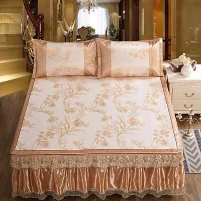 可拆卸床裙式凉席  夏季提花冰丝席 1.5m(5英尺)床 花枝招展金