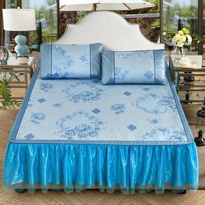 可拆卸床裙式凉席  夏季提花冰丝席 1.5m(5英尺)床 永恒之恋蓝