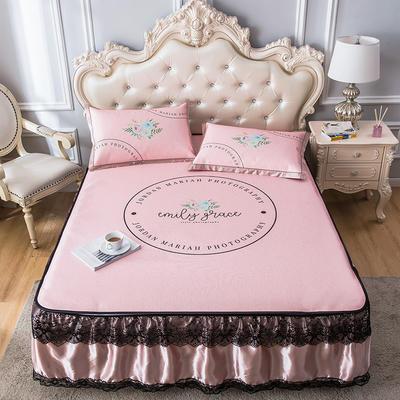 2020新品床裙款印花凉席 可水洗冰丝席 1.5m三件套 花园粉