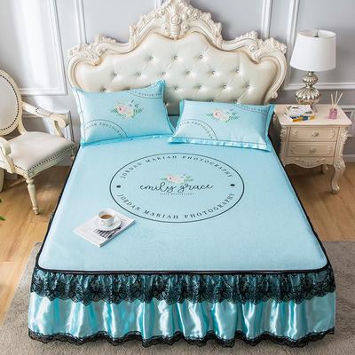 2020新品床裙款印花凉席 可水洗冰丝席 1.5m三件套 花园蓝