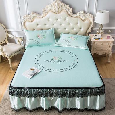 2020新品床裙款印花凉席 可水洗冰丝席 1.5m三件套 花园浅绿
