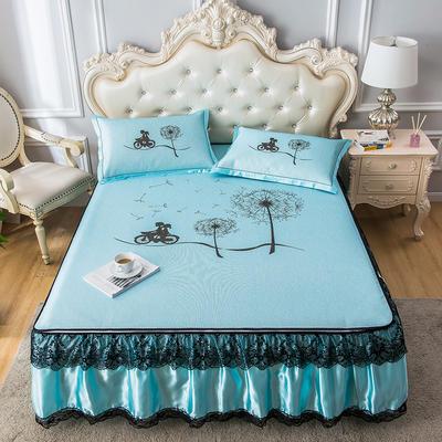 2020新品床裙款印花凉席 可水洗冰丝席 1.5m三件套 旅行蓝