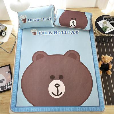大版印花冰丝席 卡通数码印花凉席 1.5m(5英尺)床 大头熊
