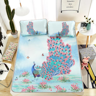 大版印花冰丝席 卡通数码印花凉席 1.5m(5英尺)床 孔雀开屏