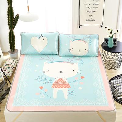 大版印花冰丝席 卡通数码印花凉席 1.5m(5英尺)床 俏皮猫