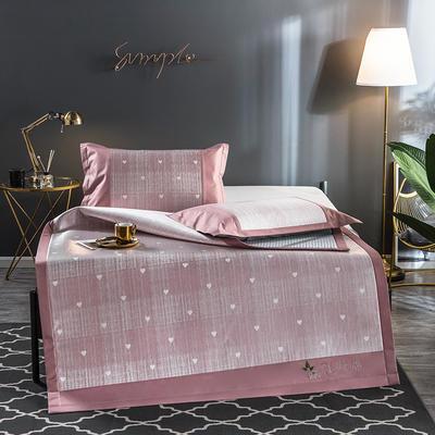 2020新品乳胶冰丝席 透气凉席子 夹层整张乳胶 1.5m(5英尺)床 爱心粉