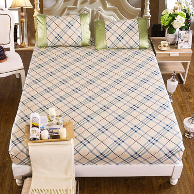 亏本处理 新款特价水洗床单床笠席子 180*200cm (床包)英伦格调-蓝