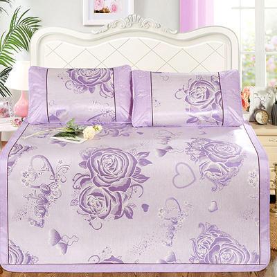 新品特卖提花冰丝凉席 1.5m三件套 玫瑰情紫