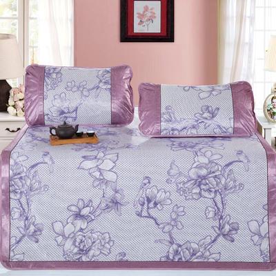 新品特卖提花冰丝凉席 1.5m三件套 浪漫花枝紫
