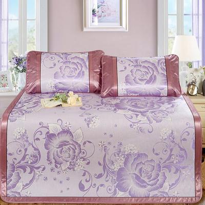 新品特卖提花冰丝凉席 1.5m三件套 花开半夏紫