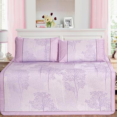 新品特卖提花冰丝凉席 1.5m三件套 美丽印象紫