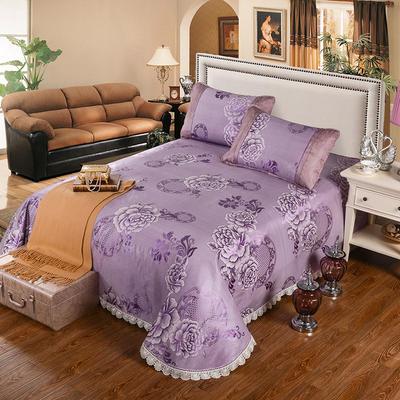 2020新款特價床單式 水洗冰絲席 230*250cm 花好月圓-紫