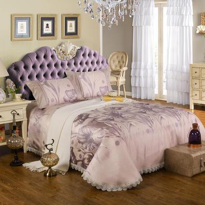2020新款特價床單式 水洗冰絲席 230*250cm 喇叭花 紫