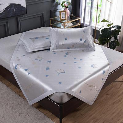 2020 新品 800D生态冰丝凉席 夏季空调席子 1.5m(5英尺)床 星愿-蓝