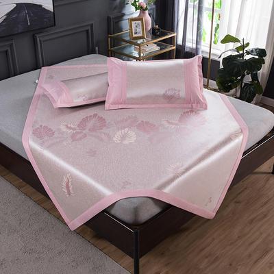 2020 新品 800D生态冰丝凉席 夏季空调席子 1.5m(5英尺)床 枫叶-粉