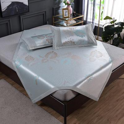 2020 新品 800D生态冰丝凉席 夏季空调席子 1.5m(5英尺)床 枫叶蓝