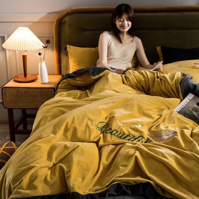 2020新品刺绣水晶绒四件套 保暖宝宝绒法莱绒 200*230(四件套) 黄拼灰