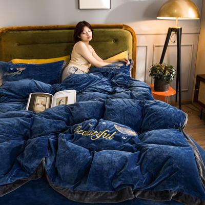 2020新品刺绣水晶绒四件套 保暖宝宝绒法莱绒 200*230(四件套) 深蓝