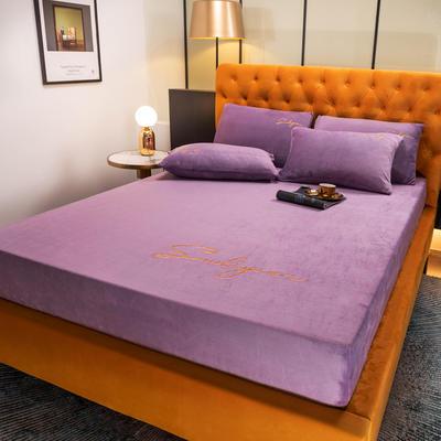 2020新品牛奶绒床笠 刺绣床单床笠 90*200(单床笠) 浪漫紫