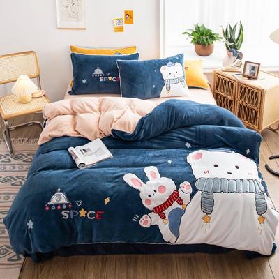 2020新品牛奶絨貼布繡四件套 寶寶絨嬰兒絨套件 220*240(2m床) 小可愛-爵士藍