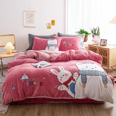 2020新品牛奶絨貼布繡四件套 寶寶絨嬰兒絨套件 220*240(2m床) 小可愛-胭脂紅