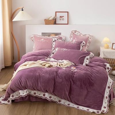 2020新品绣花婴儿绒四件套 保暖宝宝绒水晶绒 200*230(1.5/1.8床) 魅惑紫
