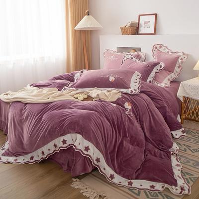 2020新品繡花嬰兒絨四件套 保暖寶寶絨水晶絨 220*240(2m床) 魅惑紫