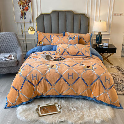 20年新款 美式輕奢牛奶絨保暖四件套 雙面加絨冬季被套床單大牌 200*230(1.5/1.8床) 馬德里