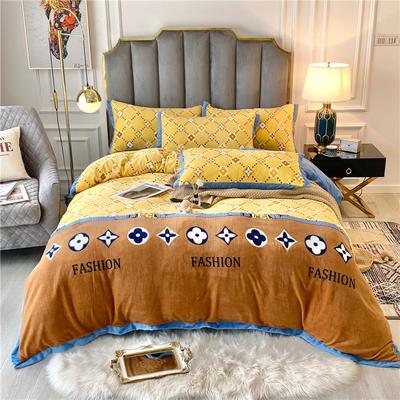 20年新款 美式輕奢牛奶絨保暖四件套 雙面加絨冬季被套床單大牌 200*230(1.5/1.8床) 摩登