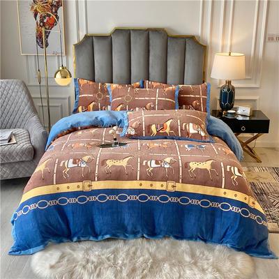 20年新款 美式輕奢牛奶絨保暖四件套 雙面加絨冬季被套床單大牌 200*230(1.5/1.8床) 萬馬奔騰