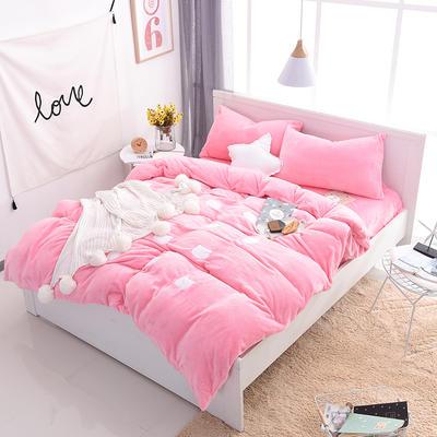 2020 法莱绒贴布绣四件套克重200g 1.5m(5英尺)床 法莱绒粉猫咪