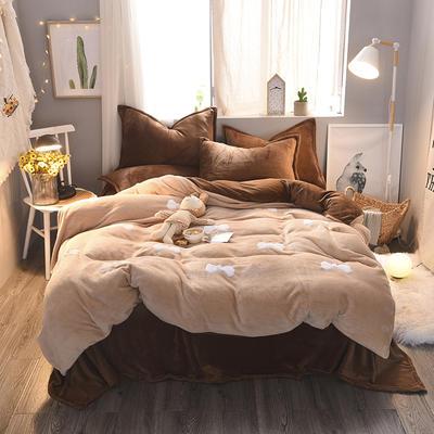 2020 法莱绒贴布绣四件套克重200g 1.5m(5英尺)床 法莱绒卡其咖啡蝴蝶结