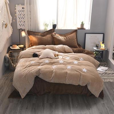 2020 法莱绒贴布绣四件套克重200g 1.5m(5英尺)床 法莱绒卡其咖啡星星