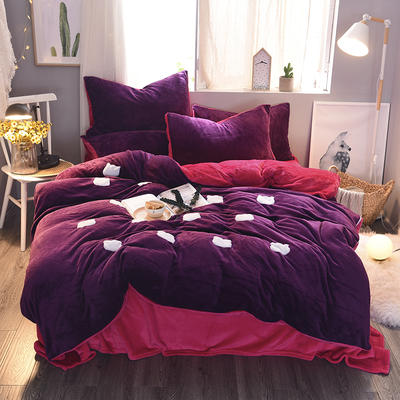 2020 法莱绒贴布绣四件套克重200g 1.5m(5英尺)床 法莱绒紫罗兰玫红猫咪