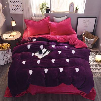 2020 法莱绒贴布绣四件套克重200g 1.5m(5英尺)床 法莱绒紫罗兰玫红小脚丫