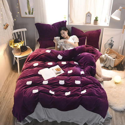 2020 法莱绒贴布绣四件套克重200g 1.5m(5英尺)床 法莱绒紫罗兰银灰猫咪