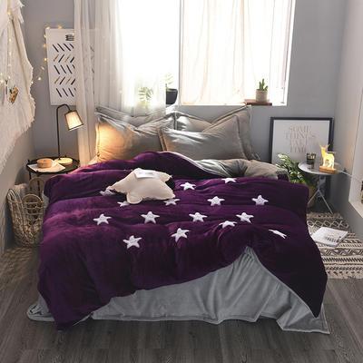 2020 法莱绒贴布绣四件套克重200g 1.5m(5英尺)床 法莱绒紫罗兰银灰星星