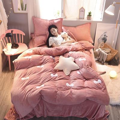 2020法莱绒贴布绣四件套 1.5m(5英尺)床 法莱绒豆沙蝴蝶结