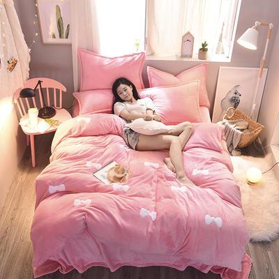 2020法莱绒贴布绣四件套 1.5m(5英尺)床 法莱绒粉蝴蝶结