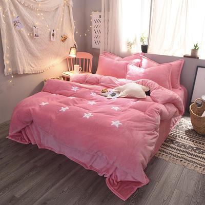 2020法莱绒贴布绣四件套 1.5m(5英尺)床 法莱绒粉星星