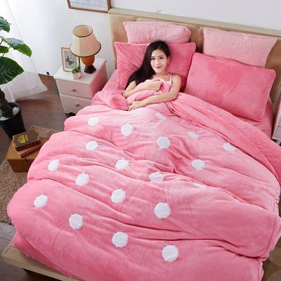 2020法莱绒贴布绣四件套 1.5m(5英尺)床 法莱绒粉圆点
