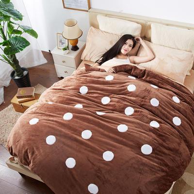 2020法莱绒贴布绣四件套 1.5m(5英尺)床 法莱绒咖啡圆点