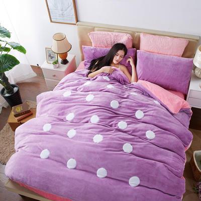 2020法莱绒贴布绣四件套 1.5m(5英尺)床 法莱绒魅紫粉圆点