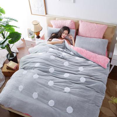 2020法莱绒贴布绣四件套 1.5m(5英尺)床 法莱绒银灰粉圆点