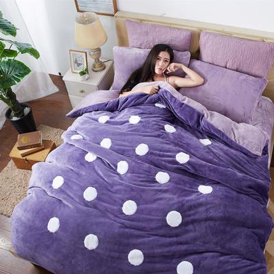 2020法莱绒贴布绣四件套 1.5m(5英尺)床 法莱绒紫圆点