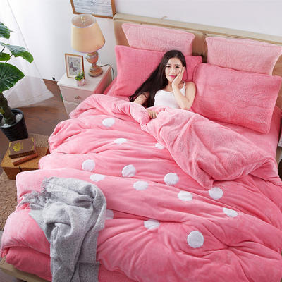 2020法莱绒贴布绣四件套 1.5m(5英尺)床 羊羔绒粉色圆点