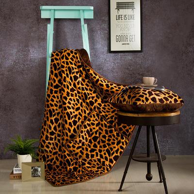 2020新款抱枕被 50*50展开尺寸1.5*2.0 豹纹咖双面绒