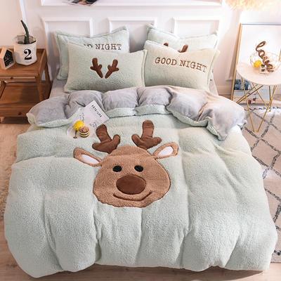 2020新款-大版法莱绒拼羊羔绒四件套 1.5m-1.8m床(床单款) 圣诞鹿