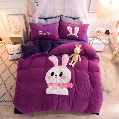 2020新款-大版法莱绒拼羊羔绒四件套 1.5m床(床笠款) 紫兔