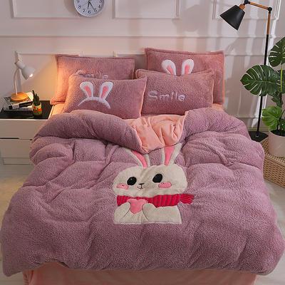 2020新款-大版法莱绒拼羊羔绒四件套 1.5m床(床笠款) 粉兔